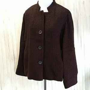 Eileen Fisher Blackberry Wool Coat sz med.
